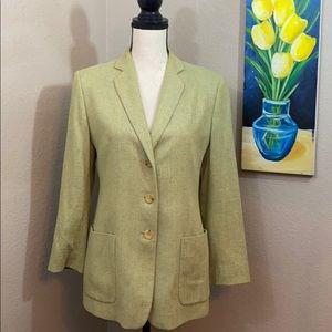 Luciano Barbera Italian silk green blazer lined